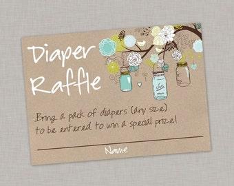 Diaper Raffle Card, Mason Jar Baby Shower, Boy, Printable