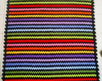 the rainbow granny stripe blanket