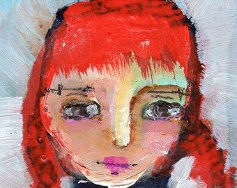 """Summer - 3x4"""" Original Mixed Media portrait"""