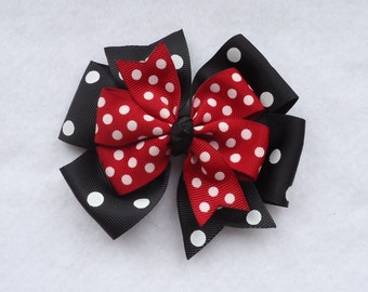 Minnie Mouse Hair Bow,  Minnie Mouse Pinwheel Style Bow, Red and Black Minnie Mouse Hairbow, Minnie Mouse Bow,