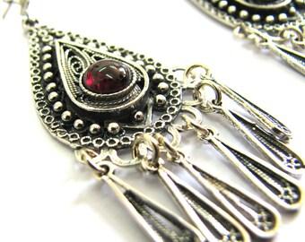 Ethnic, Chandelier, 925 Sterling Silver, Filigree, Earrings Decorated With Garnet Gemstones, Women Fashion - ID77