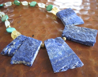 Rustic Rough Lapis Gold Statement Necklace Citrine Prehnite Raw Gem Rock Natural Beauty Artisan Jewelry CANYON SKY