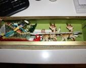 Fairy LIght Tales VTG Midcentury Santa Sleigh Xmas Christmas Light Set Santa Reindeer 1950's
