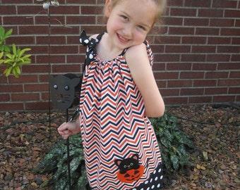 Halloween Pillowcase Dress, Cute Kitty and Pumpkin Dress, Orange, Black and White Chevron, Fall Dress, Size 6 mos to 14