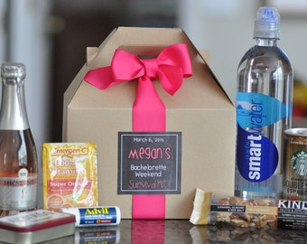 Bachelorette Party Survival Box {Bridesmaid gifts, Hangover kit, Bachelorette Weekend} Set of 12