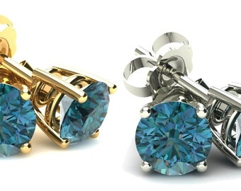 Blue Diamond Studs 1/2Ct Studs 14K White or Yellow Gold