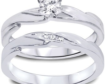 Diamond .28CT Engagement Wedding Ring Set 10K White Gold