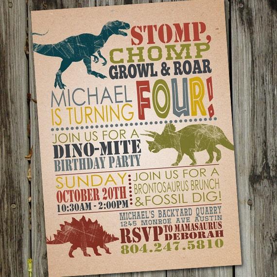 May The 4th Be With You Invitations: Dinosaur Invitation Dinosaur Dig PRINTABLE Dinosaur Party