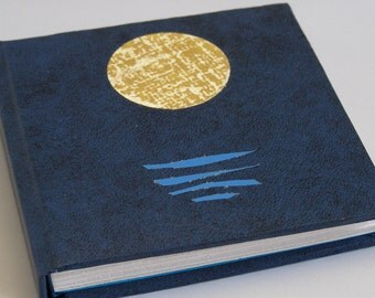 Handmade book - Mini hardback book - Navy mini notebook with moon motif