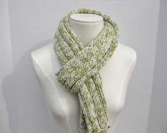 Linen cotton scarf green white hand knitted