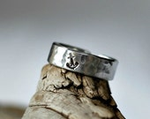 Sterling Anchor Ring- Hammered Silver Band Ring