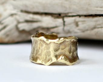 Melted Brass Ring Hammered Molten Gold Ring