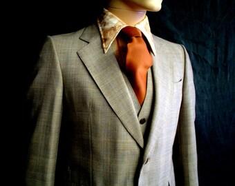 70s 39S 3 Pc Suit Leishman 2 Button Men's Pants Jacket Vest Taupe Brown Plaid