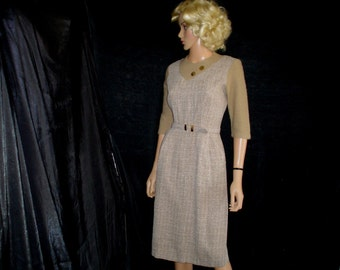 50s M Day Sheath DRESS 3/4 Sleeve Beige Acrylic Cotton Taupe