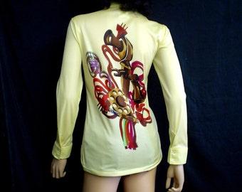 70s XL Telephone Print Polyester Knit Shirt Blouse Nancy Fashion Yellow