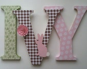 """Nursery wooden  wall letters in pink, brown and green wooden letters spelling out your  child's name 8 """" wall letters initial monogram"""