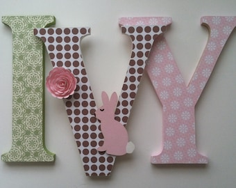 "Nursery wooden  wall letters in pink, brown and green wooden letters spelling out your  child's name 8 "" wall letters initial monogram"