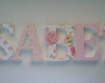 Nursery wooden wall letters shabby florals initial monogram