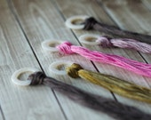 Set of 10 Round Thread Rings : Circles Mother of Pearl Kelmscott thread holders minders organizers cross stitch