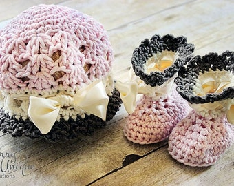 Set of 2 Crochet Patterns for Katrina Cloche Hat and Baby Booties - Welcome to sell finished items