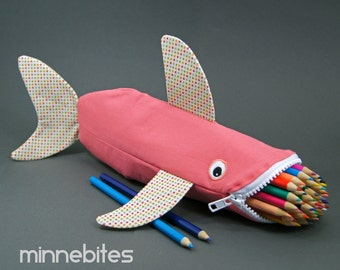 Coral Reef Shark Bag by MinneBites / Handmade School Bag - Pencil Case for Girls - College Desk Accessory - Pink Purse - Ready to Ship