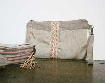 50 % OFF SALE - Bridal linen wristlet natural bridesmaid clutch Linen zipper wedding pouch