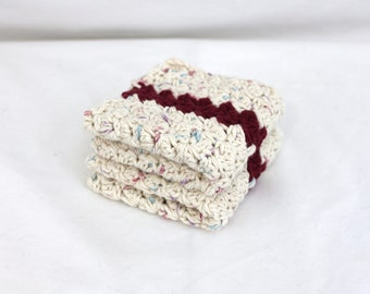 Hand Crocheted Wash Cloths: Ivory Cotton with marono stripe, Eco Friendly