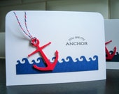 Nautical Valentine Card, I Love You Card, Friendship Card, Anniversary Card, You Are My Anchor, BFF Card