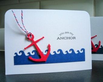 Nautical Anniversary Card, I Love You Card, Friendship Card, Valentine Card, You Are My Anchor, BFF Card