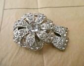 vintage fur clip with rhinestones-1940s, 1950s, silver