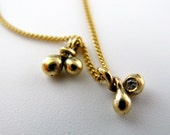 Fine Jewelry - Organic Teardrops Pendant - Delicate 14K Gold Charm with 0.01ct Diamond  - Ready to Ship