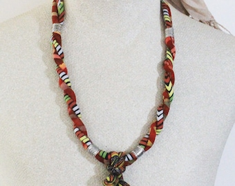 Fabric necklace - Textile necklace - Fabric jewelry - Textile Jewelry - Tribal necklace