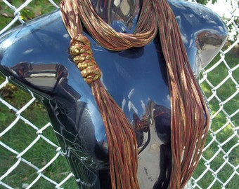 Infinity Necklace Scarf - Bronze Mesh Fabric, TShirt Scarf Alternative