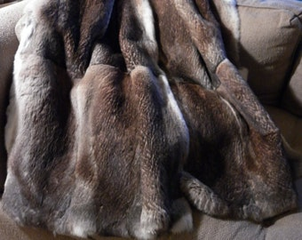 Real Genuine Sheared Natural Heather Rabbit Fur Throw new  made in usa  authentic