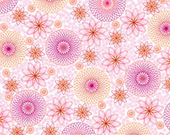 Quilting Treasures - Hot Topic - Spiral Floral in White and Pink - Studio 8 - By The Yard