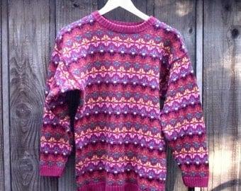 Sale Fair Isle sweater, Icelandic Design. Small Medium Chunky Pullover