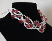 White Hemp Red and Clear Bead Necklace-Choker