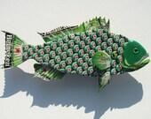 Metal Bottle Cap Fish Wall Art - Small Bud Heineken Grouper Sculpture