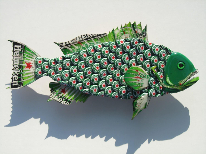 Metal bottle cap fish wall art small bud heineken by for How to make beer bottle cap art
