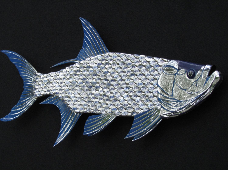 Metal Fish Wall Lights : Tarpon Fish Large Metal Wall Art Bud Light Bottle by EricsEasel