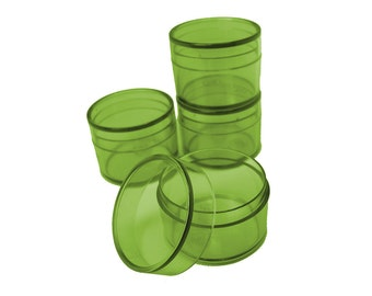 Bead Storage or Jewelry Packaging Round Box Green Clear Tiny 1 1/4 by 1 inch 4pcs