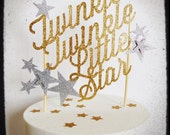 Twinkle twinkle little star Custom baby shower birthday paper cake topper with stars your text colors gold glitter plain script photo prop