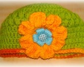 baby hat - baby accessories - baby clothes - crochet hat - flower hat - kids clothes- kids accessories - girls hat -orange flower- turquoise