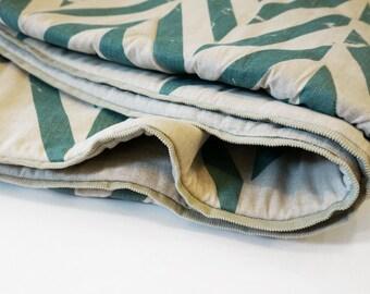 Natural baby blanket, natural crib blanket, linen baby blanket, cotton children blanket, baby blanket wool, printed blanket, aqua zigzag