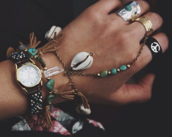 BSR-01,brass slave ring/bracelet with turquoise, cowrie shells and tassels