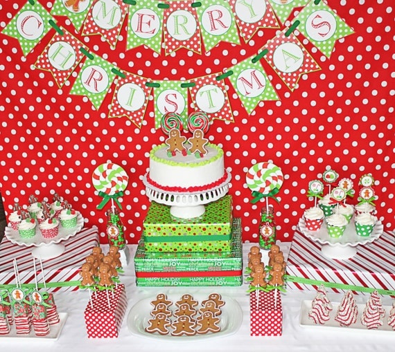 INSTANT DOWNLOAD 70% off Sale DIY Gingerbread Man Christmas Party Printable Deluxe Package Red green lime