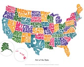 Art of The State USA Map Poster 14 X 20 inches