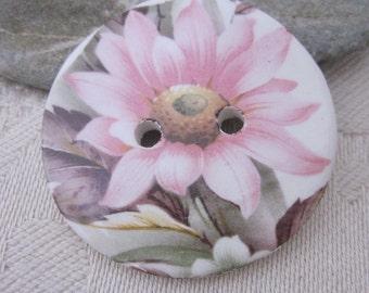 Pink Flower Motif Ceramic Button
