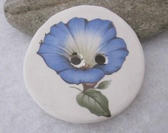 Bright Morning Glory Flower Motif Ceramic Button