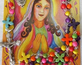 Handmade Catholic Rosary, Multicolored Howlite Magnesite Beads, Blessed Mother Center